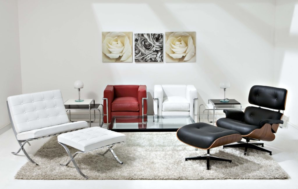 Eames Lounge Chair with Barcelona Chair