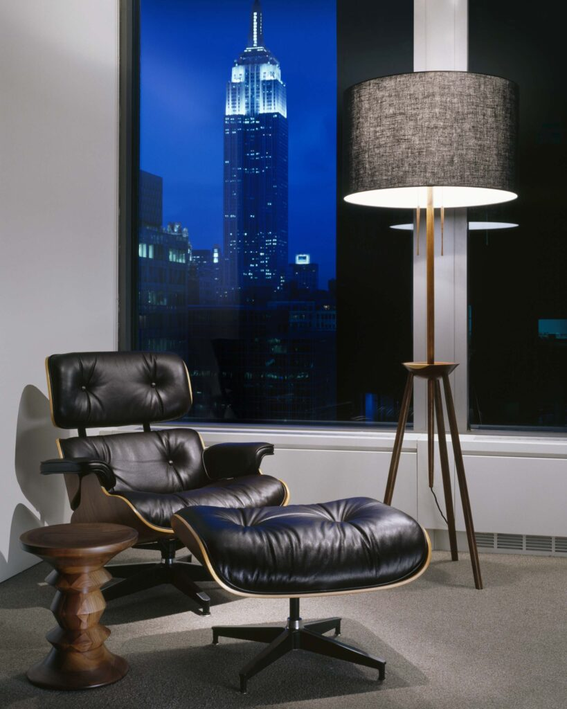 Eames Lounge Chair with Eames Walnut Stool