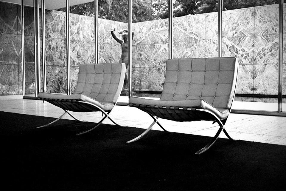 Two Barcelona Chairs in the Barcelona Pavilion