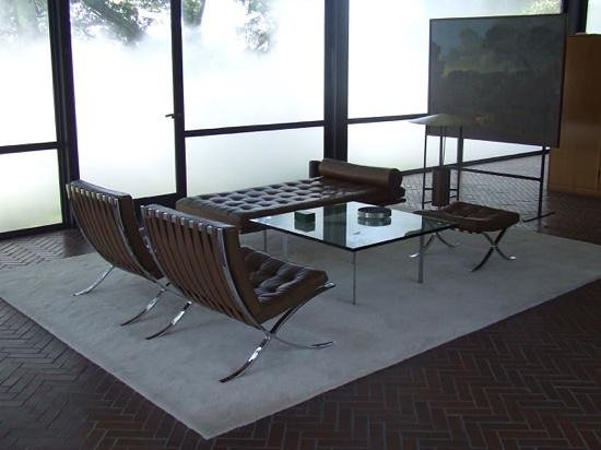 The Barcelona Table, Barcelona Ottoman, Barcelona Day Bed and two Barcelona Chairs, all part of the Barcelona Collection