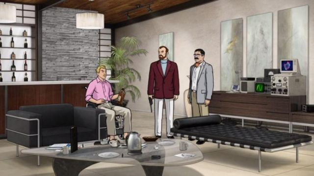 Barcelona Daybed, Noguchi Table and Le Corbusier Sofa in TV Show Archer