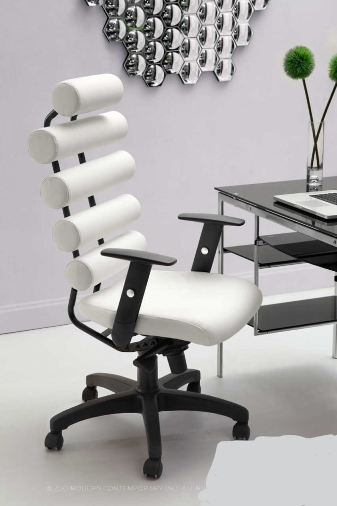 Unico Office Chair White. Mid Century Modern Furniture.