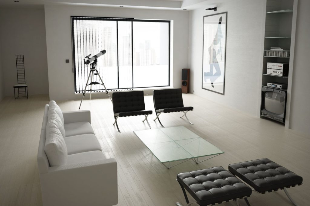 Barcelona Chairs and Barcelona Ottomans as parts of the American Psycho Set