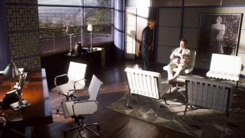 4 Barcelona Chairs and 2 Eames Office Chairs in an Office Design in the TV Show Better Call Saul