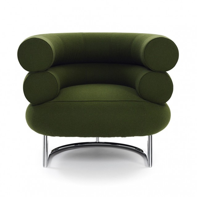 eileen gray bibendum chair green with steel details