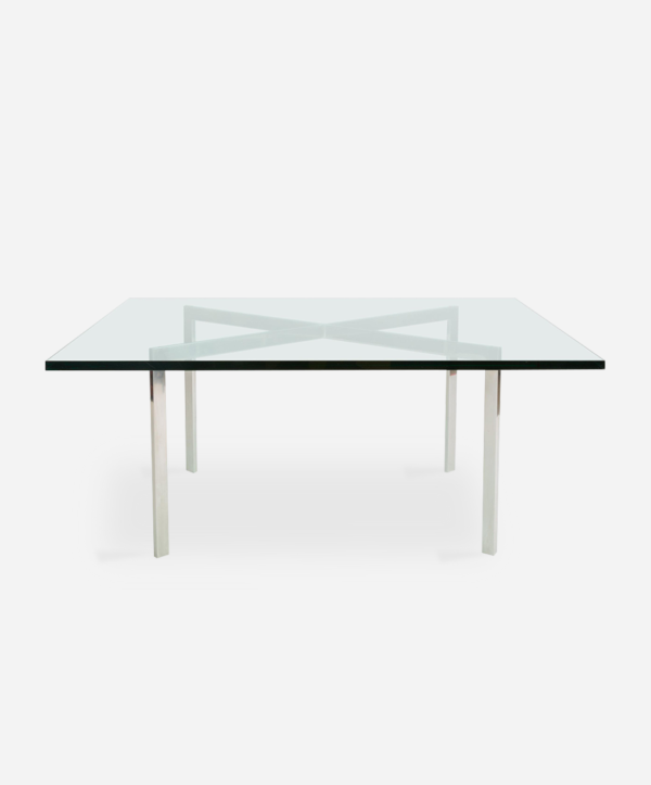glass Barcelona table with steel details