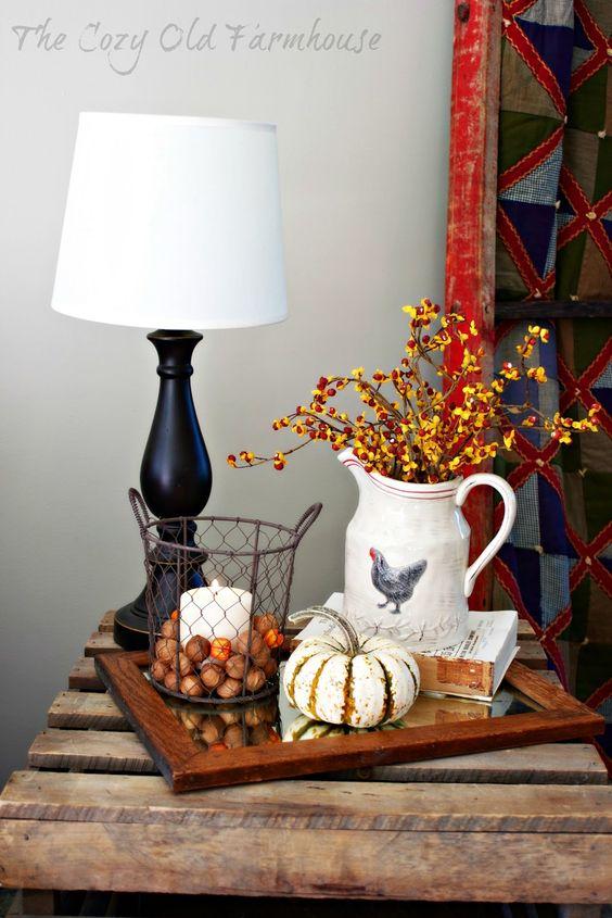 wooden arragement with white pumpkin
